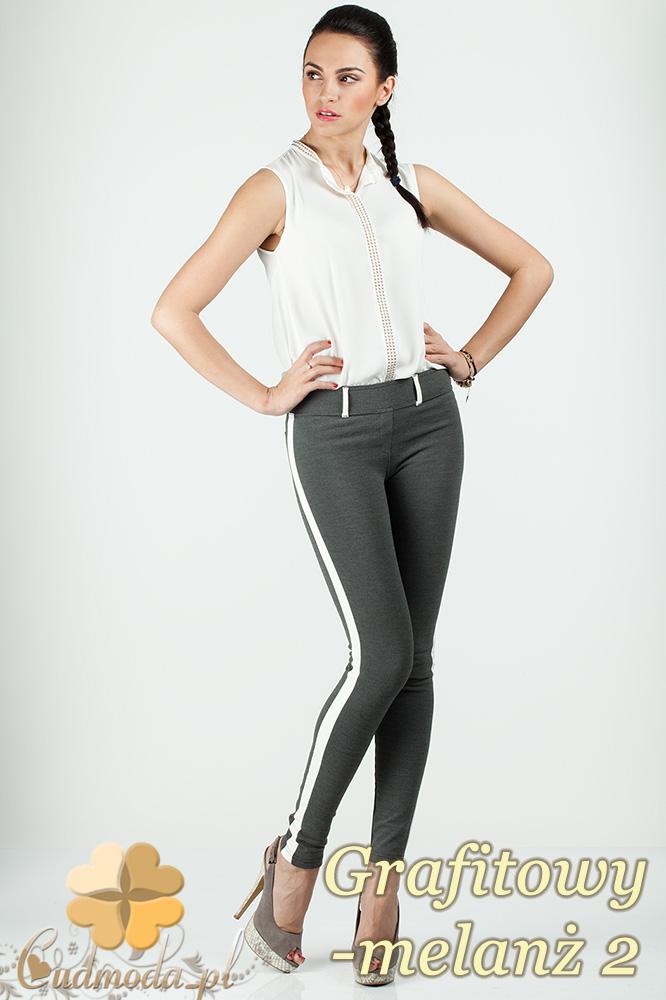 CM0159 Włoskie legginsy ze skórzaną wstawką na nogawce - grafitowy melanż 2