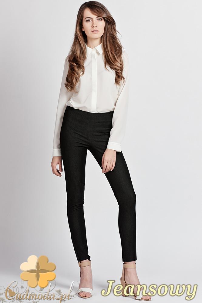 CM0751 LANTI SD101 Damskie spodnie rurki ze złotymi zamkami - jeansowe OUTLET