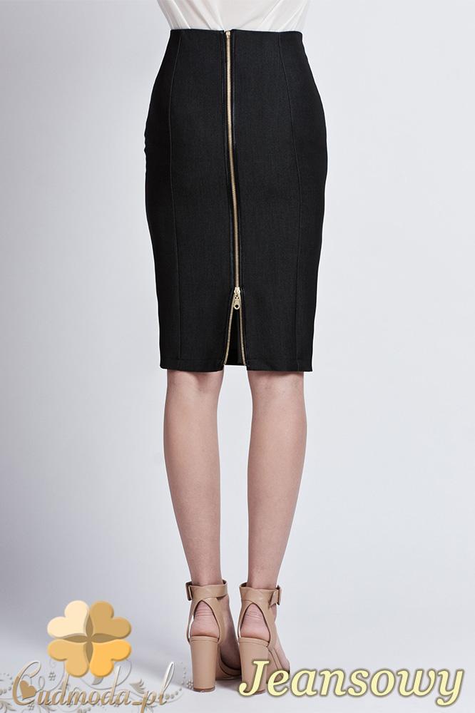 CM0760 LANTI SP102 Ołówkowa spódnica do kolana z ozdobnym złotym suwakiem - czarna