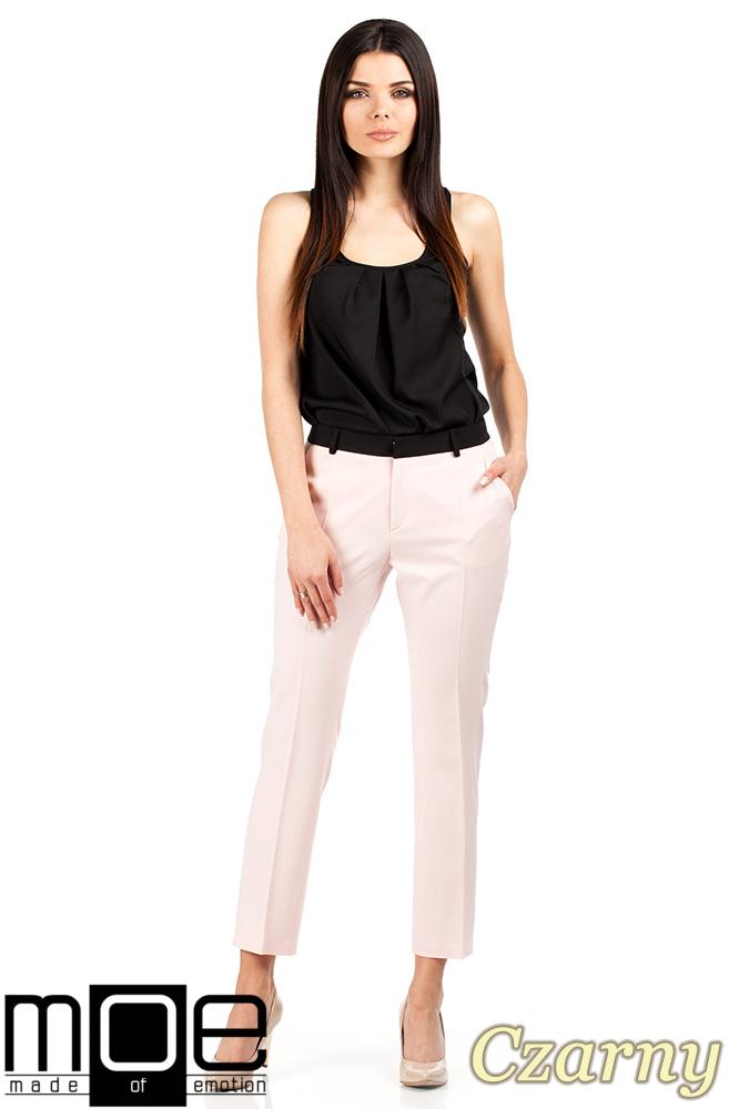 CM0669 Zwiewna elegancka bluzka damka bez rękawków - czarna
