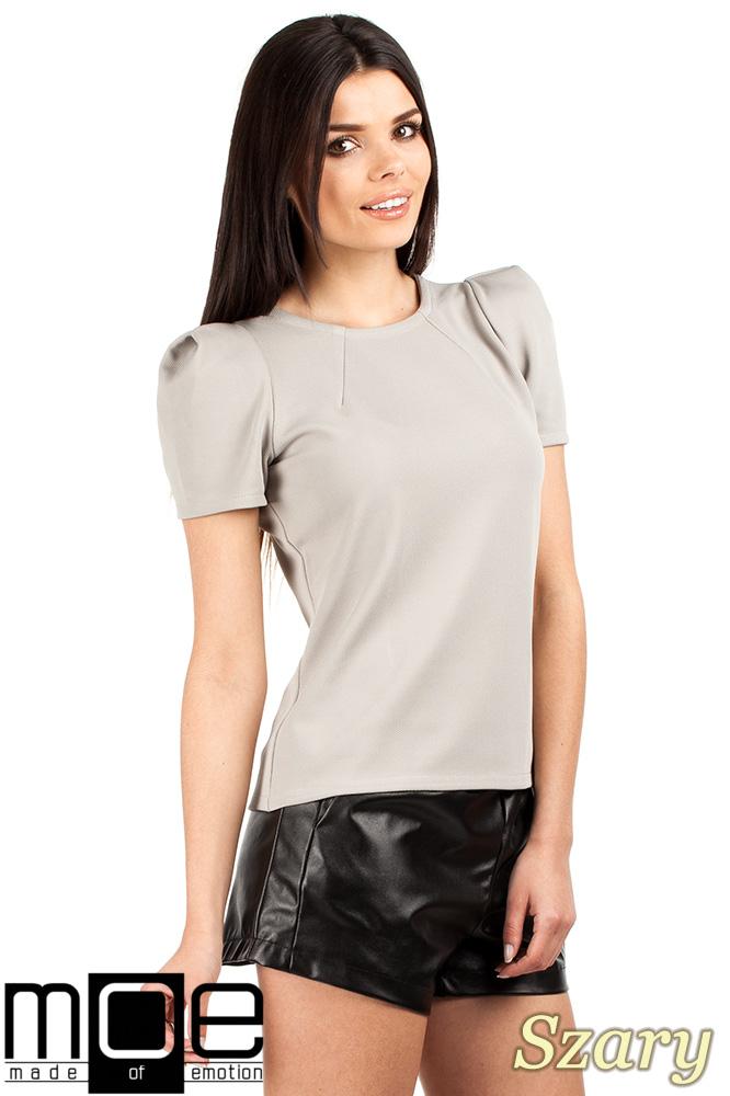 CM0728 Bluzka damska z bufkami i krótkim rękawem - szara